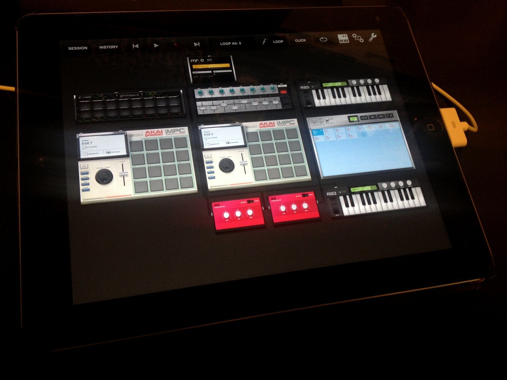 iPad via Apple Camera Connection Kit plus Midi Keyboards USB Hub controller